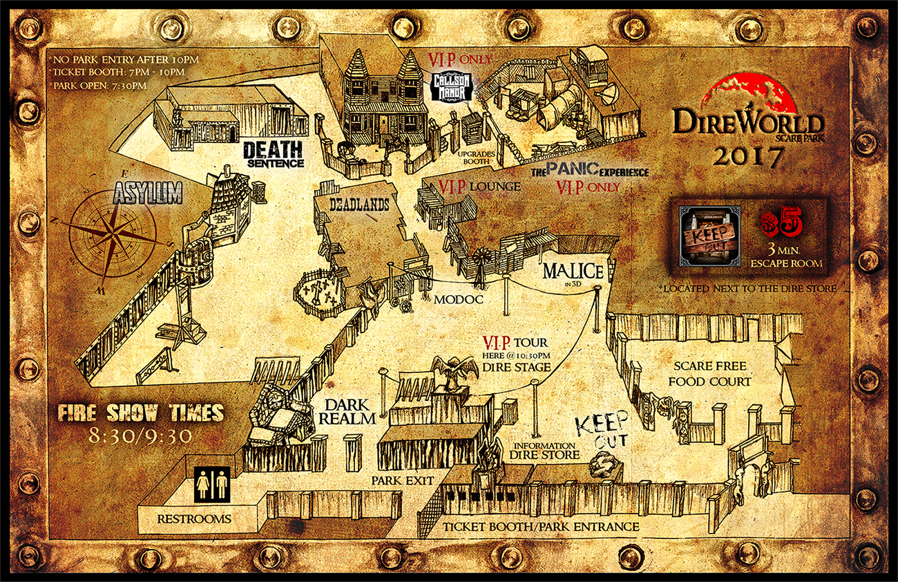 Deadlands California Map.Dire World Scare Park A Terrifingly Twisted Haunted Theme Park